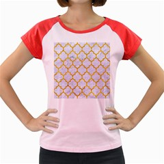 Tile1 White Marble & Yellow Marble (r) Women s Cap Sleeve T Shirt
