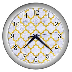 Tile1 White Marble & Yellow Marble (r) Wall Clocks (silver)  by trendistuff