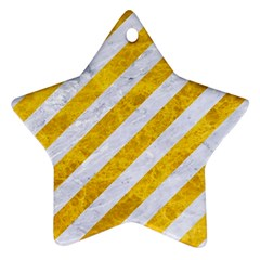 Stripes3 White Marble & Yellow Marble (r) Ornament (star) by trendistuff