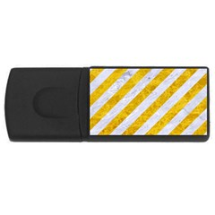 Stripes3 White Marble & Yellow Marble (r) Rectangular Usb Flash Drive by trendistuff