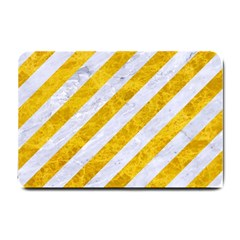 Stripes3 White Marble & Yellow Marble (r) Small Doormat  by trendistuff