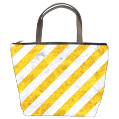 Stripes3 White Marble & Yellow Marble (r) Bucket Bags by trendistuff