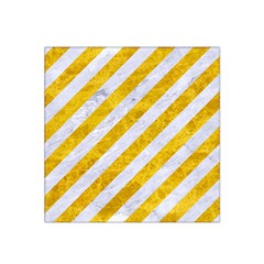 Stripes3 White Marble & Yellow Marble (r) Satin Bandana Scarf by trendistuff