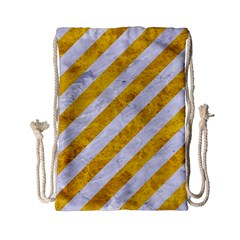 Stripes3 White Marble & Yellow Marble (r) Drawstring Bag (small) by trendistuff