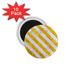 Stripes3 White Marble & Yellow Marble 1 75  Magnets (10 Pack)  by trendistuff