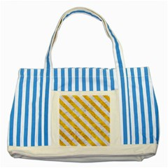 Stripes3 White Marble & Yellow Marble Striped Blue Tote Bag by trendistuff