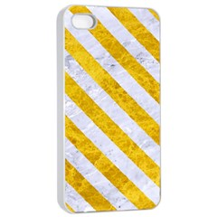 Stripes3 White Marble & Yellow Marble Apple Iphone 4/4s Seamless Case (white) by trendistuff