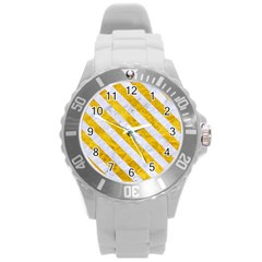 Stripes3 White Marble & Yellow Marble Round Plastic Sport Watch (l) by trendistuff