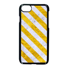 Stripes3 White Marble & Yellow Marble Apple Iphone 8 Seamless Case (black) by trendistuff