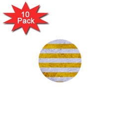 Stripes2white Marble & Yellow Marble 1  Mini Buttons (10 Pack)  by trendistuff