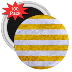 Stripes2white Marble & Yellow Marble 3  Magnets (100 Pack) by trendistuff