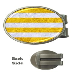 Stripes2white Marble & Yellow Marble Money Clips (oval)  by trendistuff