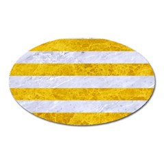Stripes2white Marble & Yellow Marble Oval Magnet by trendistuff
