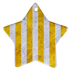Stripes1 White Marble & Yellow Marble Star Ornament (two Sides) by trendistuff