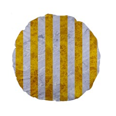 Stripes1 White Marble & Yellow Marble Standard 15  Premium Flano Round Cushions by trendistuff