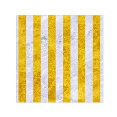 Stripes1 White Marble & Yellow Marble Small Satin Scarf (square) by trendistuff