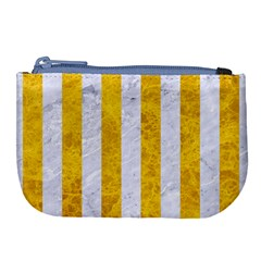 Stripes1 White Marble & Yellow Marble Large Coin Purse