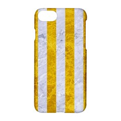 Stripes1 White Marble & Yellow Marble Apple Iphone 7 Hardshell Case