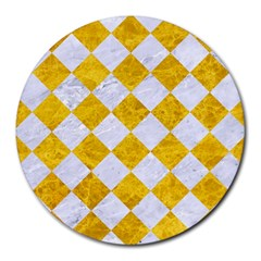 Square2 White Marble & Yellow Marble Round Mousepads by trendistuff