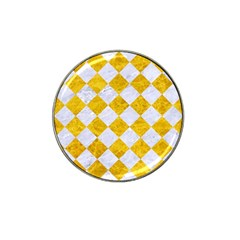 Square2 White Marble & Yellow Marble Hat Clip Ball Marker (4 Pack) by trendistuff