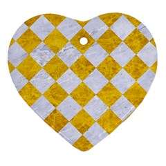 Square2 White Marble & Yellow Marble Heart Ornament (two Sides) by trendistuff