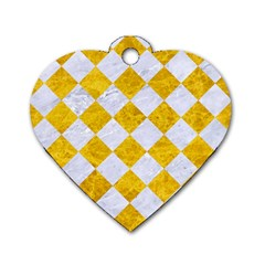 Square2 White Marble & Yellow Marble Dog Tag Heart (two Sides) by trendistuff