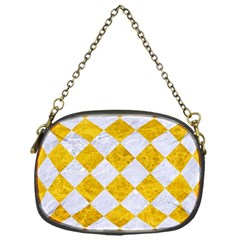 Square2 White Marble & Yellow Marble Chain Purses (one Side)  by trendistuff