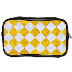 Square2 White Marble & Yellow Marble Toiletries Bags 2 Side by trendistuff