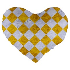 Square2 White Marble & Yellow Marble Large 19  Premium Heart Shape Cushions by trendistuff