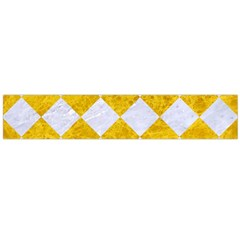 Square2 White Marble & Yellow Marble Large Flano Scarf  by trendistuff