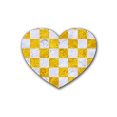 Square1 White Marble & Yellow Marble Heart Coaster (4 Pack)  by trendistuff