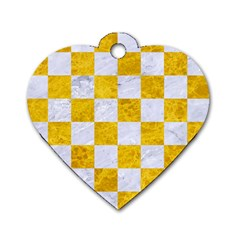 Square1 White Marble & Yellow Marble Dog Tag Heart (one Side) by trendistuff