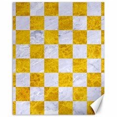 Square1 White Marble & Yellow Marble Canvas 11  X 14   by trendistuff