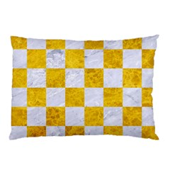 Square1 White Marble & Yellow Marble Pillow Case (two Sides) by trendistuff
