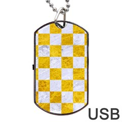 Square1 White Marble & Yellow Marble Dog Tag Usb Flash (one Side) by trendistuff