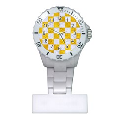 Square1 White Marble & Yellow Marble Plastic Nurses Watch by trendistuff