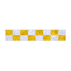 Square1 White Marble & Yellow Marble Flano Scarf (mini) by trendistuff