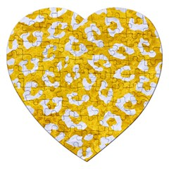 Skin5 White Marble & Yellow Marble (r) Jigsaw Puzzle (heart) by trendistuff