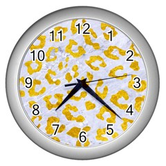 Skin5 White Marble & Yellow Marble Wall Clocks (silver)  by trendistuff