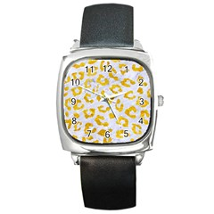 Skin5 White Marble & Yellow Marble Square Metal Watch by trendistuff