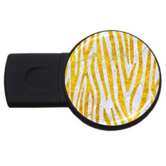 Skin4 White Marble & Yellow Marble Usb Flash Drive Round (2 Gb) by trendistuff