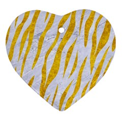 Skin3 White Marble & Yellow Marble (r) Ornament (heart) by trendistuff