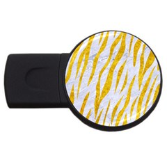 Skin3 White Marble & Yellow Marble (r) Usb Flash Drive Round (2 Gb) by trendistuff
