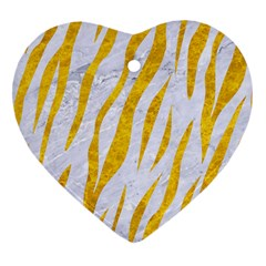 Skin3 White Marble & Yellow Marble (r) Heart Ornament (two Sides) by trendistuff