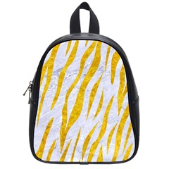 Skin3 White Marble & Yellow Marble (r) School Bag (small) by trendistuff