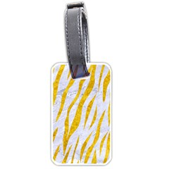 Skin3 White Marble & Yellow Marble (r) Luggage Tags (two Sides) by trendistuff