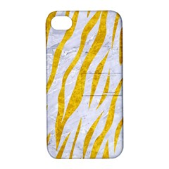 Skin3 White Marble & Yellow Marble (r) Apple Iphone 4/4s Hardshell Case With Stand by trendistuff