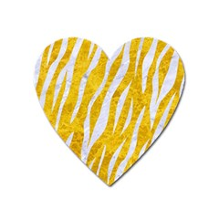 Skin3 White Marble & Yellow Marble Heart Magnet by trendistuff
