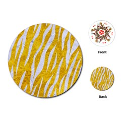 Skin3 White Marble & Yellow Marble Playing Cards (round)  by trendistuff