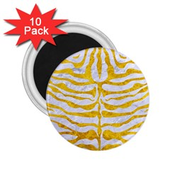 Skin2 White Marble & Yellow Marble (r) 2 25  Magnets (10 Pack)  by trendistuff